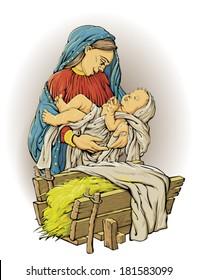 nativity scene color