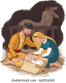 Nativity scene with Holy Family. Jesus, Mary and Joseph. Also available coloring book version