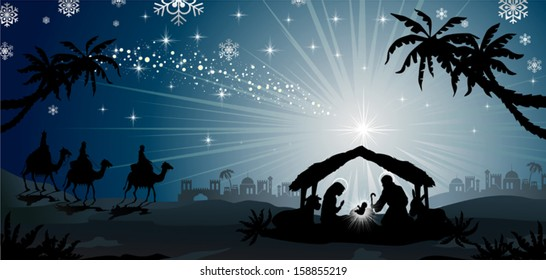 nativity scene with holy family and the three kings of oriental landscape-transparency blending effects and gradient mesh-EPS10