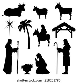 Nativity scene icons. Very easy to change color.