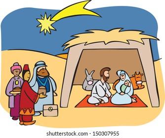 Nativity scene. Jesus, Mary, Joseph and the wise men in the manger.