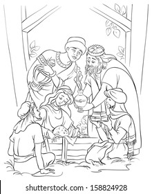 Nativity scene. Jesus, Mary, Joseph and Three Kings in the manger. Coloring page. Also available colored version
