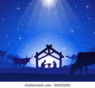 Nativity Scene with Jesus, Mary and Joseph in a Manger under Bright Start