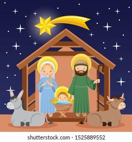 nativity scene with joseph mary jesus and animals. vector illustration