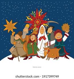 Nativity scene. Merry christmas. vector illustration
