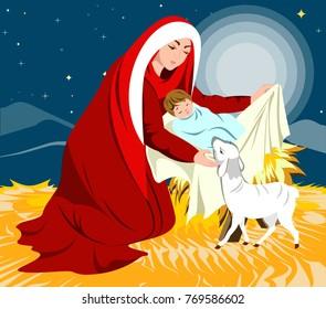 Nativity scene showing birth of Jesus