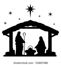 Nativity Scene Silhouette. Holiday Holly Night. Christmas Cut File Scrapbook. Decorative Card. Clip Art Vector.