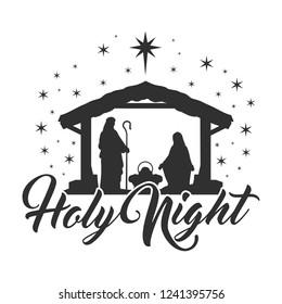 Nativity Scene Silhouette Holiday Holy Night Christmas Religion