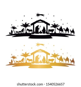 Nativity Scene Silhouette. Holidays Christmas Religion. Holly Night Characters. Cut File Design. Vector Clip Art.