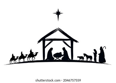 Nativity scene silhouette Jesus in manger, shepherd and wise men. Christmas story Mary Joseph and baby Jesus in nursery. The birth of Christ with Bethlehem star, vector illustration