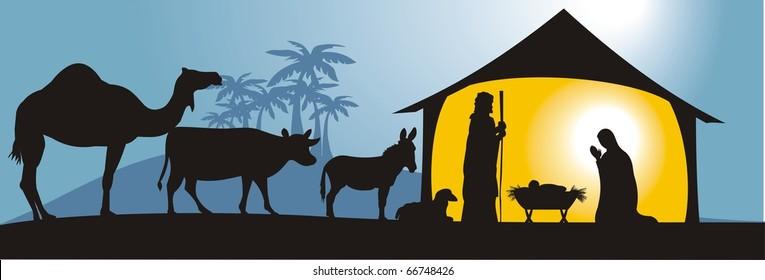 nativity scene in vector format, fully editable