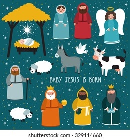 "Nativity scene. Vector set of cute people, animals. Holiday background with text ""Baby Jesus is born"""