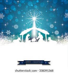 Nativity silhouette White on a Blue Background with Snowflakes-Transparency blending effects and gradient mesh-EPS 10