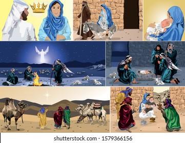 The Nativity Storyboard - Birth of Jesus Christ with Mary, Joseph, Angel Gabriel, Shepherds & Wise Men Vector Illustration