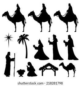 Nativity and Wise Men icons. Very easy to change color.
