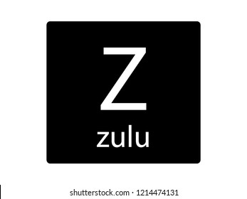 NATO Army Phonetic Alphabet Letter Zulu