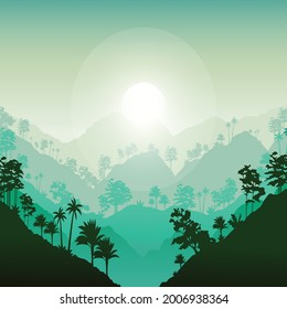 Natura Sunrise Illustration Design Template