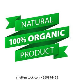 Natural  100% Organic product green ribbon banner icon isolated on white background. Vector illustration