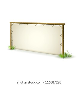 Natural Advertising Sign Panel made from Wood and Leather on White Background