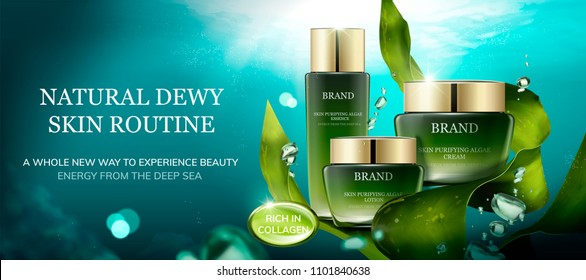 Natural algae skin care product under the sea with cream jar and bubbles in 3d illustration