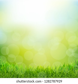Natural Background With Grass Border, Vector Illustration
