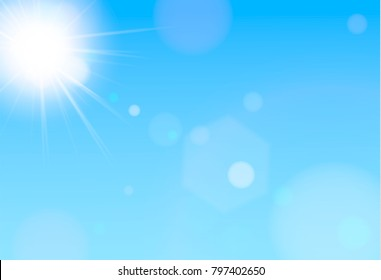 Natural background with sun is shining behind the clouds