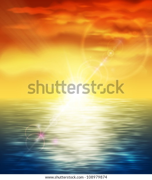 Natural background with sunset at sea. Eps 10