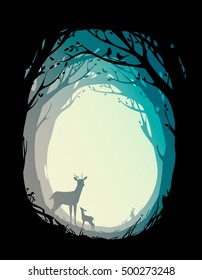 natural background with trees, plants, deer, rabbit and birds. vector illustration