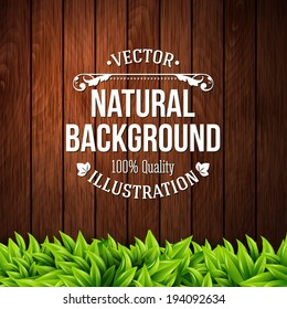 Natural background with wooden planks and leaves. Vector illustration.