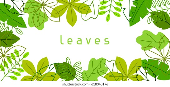 Natural banner with stylized green leaves. Spring or summer foliage.