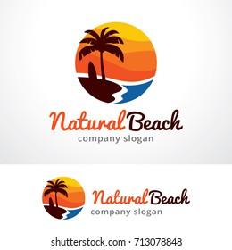 Natural Beach Logo Template Design Vector, Emblem, Design Concept, Creative Symbol, Icon