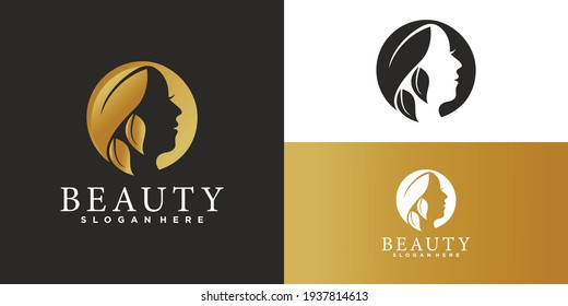 Natural Beautiful woman's face flower logo  with gold gradient and business card design for beauty salon Premium Vector. part 3
