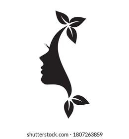 Natural Beauty Logo Design Template. Women's Health Care Logo Design. Line art, painting art, tattoo art.face logo.