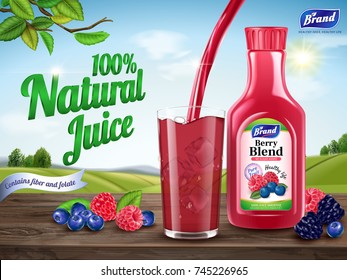 Natural berry blend juice ads, refreshing berries with juice pouring down into a glass cup isolated on wooden table in 3d illustration