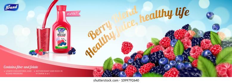 Natural berry blend juice with plenty fruit pile on light blue background in 3d illustration