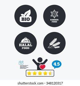 Natural Bio food icons. Halal and Kosher signs. Gluten free and star of David symbols. Star vote ranking. Client like and think bubble. Quotes with message.