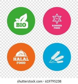 Natural Bio food icons. Halal and Kosher signs. Gluten free and star of David symbols. Round buttons on transparent background. Vector