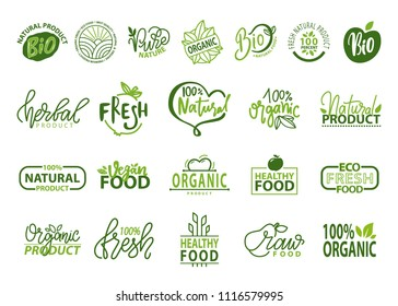 Natural bio and organic food vector illustration isolated on white backdrop logos collection, icons of healthy 100% fresh products, advertising poster