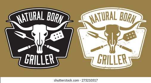 Natural Born Griller barbecue vector image with cow skull and crossed utensils. Includes clean and grunge versions.