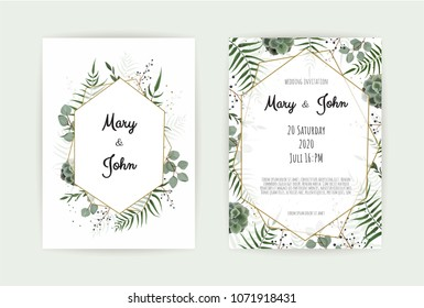 Natural botanical wedding invitation template. With green leaf , eucalyptus branches. Vector floral design card. Geometrical golden frame, border with copy space.
