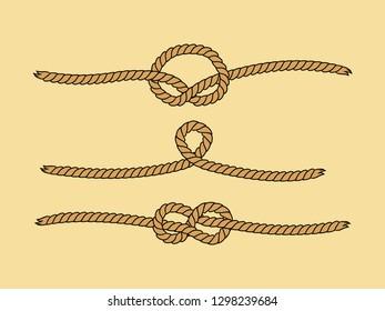 Natural brown marine knots twine rope set, vector