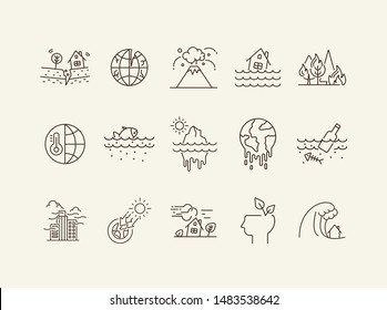 Natural calamities icons. Set of line icons. Forest fire, earthquake, melting glacier. Ecology concept. Vector illustration can be used for topics like environment protection, nature