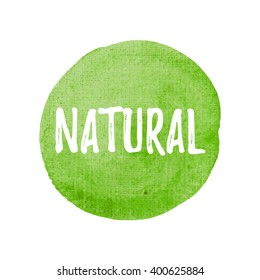 Natural card, poster, logo, written on watercolor green background illustration