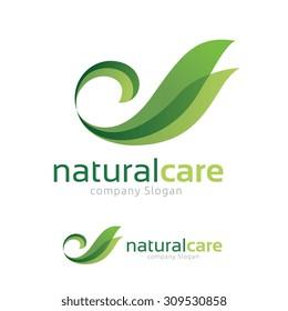 Natural Care logo,Swan and green leaf symbol.