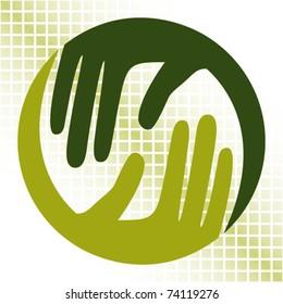 Natural caring hands design.