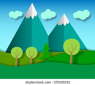 Natural Cartoon Mountain Landscape Hills Mountains Stock Vector Royalty Free 370190192