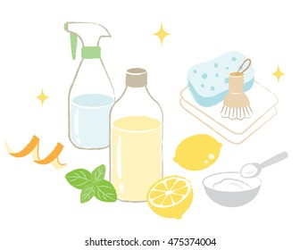 natural cleaning products are vinegar, baking soda, lemon, orange peel, and citric acid/natural cleaning products
