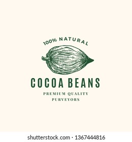 Natural Cocoa Beans Abstract Vector Sign, Symbol or Logo Template. Hand Drawn Sketch Cacao Bean Sillhouette with Retro Typography. Vintage Luxury Emblem. Isolated.