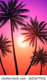 Natural Coconut trees mountains horizon hills silhouettes of trees and hills in the evening Sunrise and sunset Landscape wallpaper Illustration vector style Colorful view background