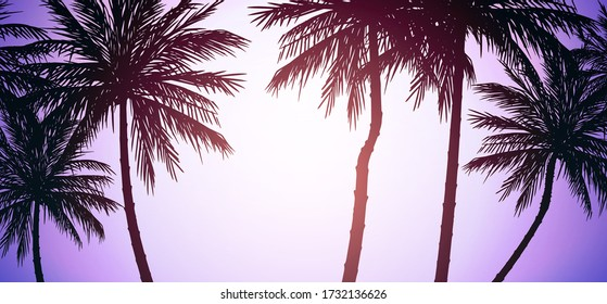 Natural Coconut trees. Mountains horizon hills. Silhouettes of palm trees and hills. Sunrise and sunset. Landscape wallpaper. Illustration vector style. Colorful view background.